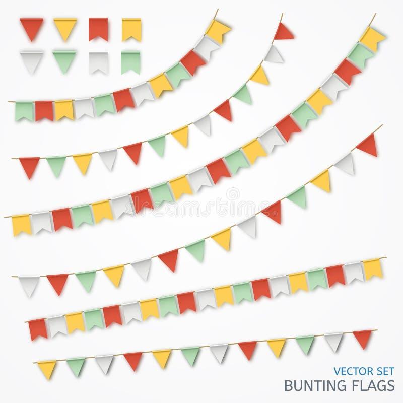 Vectorillustratie van een realistische slinger van kleurrijke vlaggen royalty-vrije illustratie
