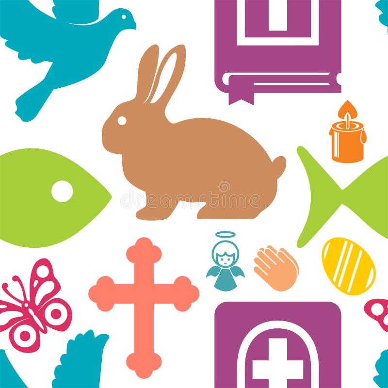 Vectorillustratie van een reeks beeldenhazen, engel, kruis, vlinder, Bijbel, vissen, duif, kaars, gebed vector illustratie
