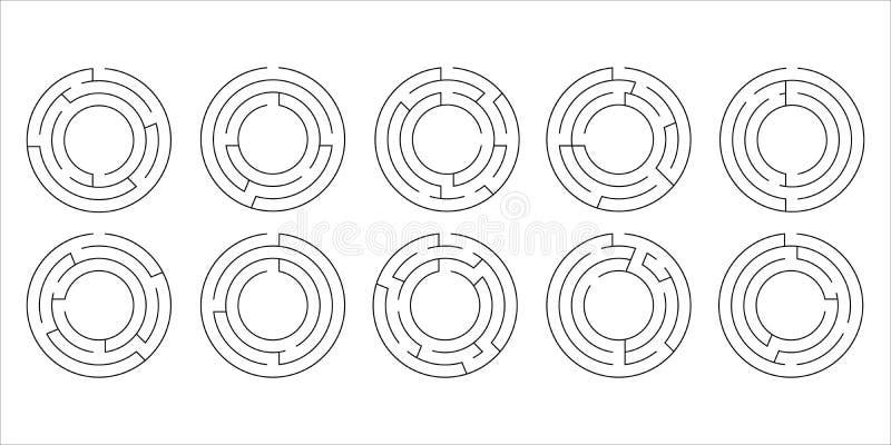 Vectorillustratie van een reeks van tien cirkellabyrinten stock foto's