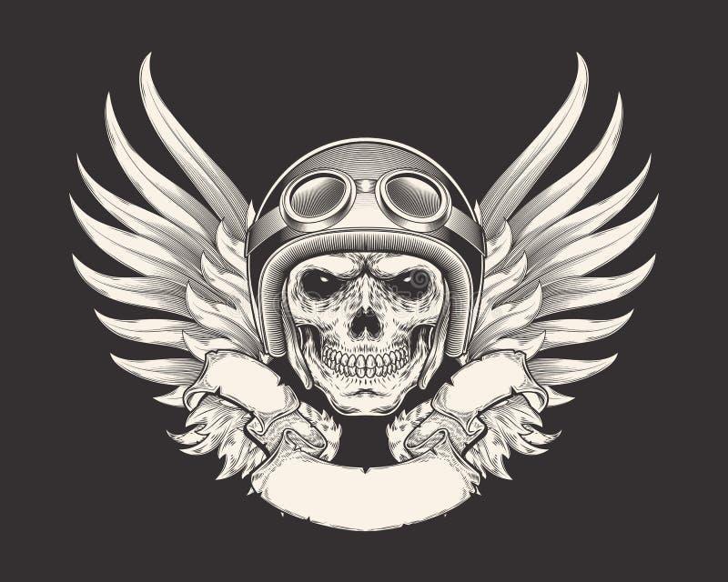Vectorillustratie van een schedelraceauto in een helm en beschermende brillen royalty-vrije illustratie