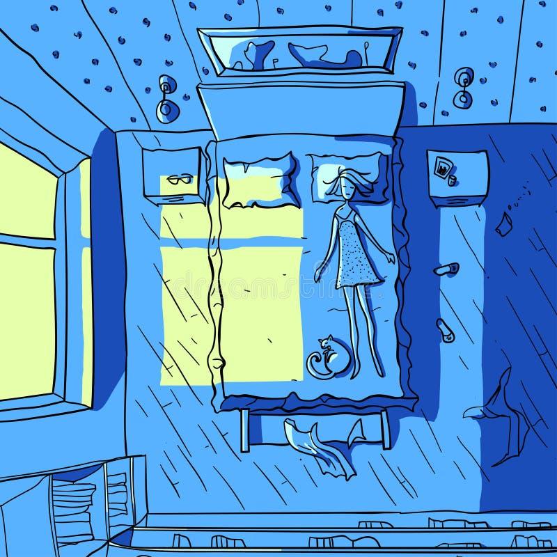 Vectorillustratie van een slaapmeisje royalty-vrije stock afbeelding