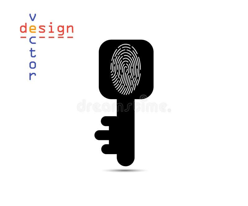 Vectorillustratie van een sleutel met een thumbprint, silhouet Het concept identificatie om een slot te openen Het voorwerp op vector illustratie