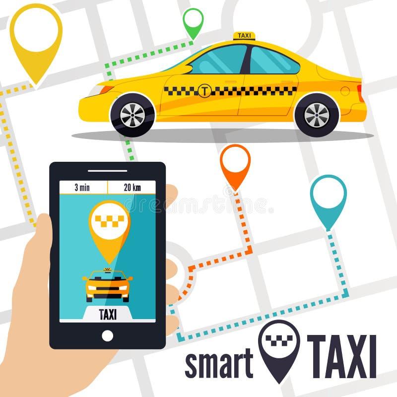 Vectorillustratie van een slim taxiconcept stock afbeelding