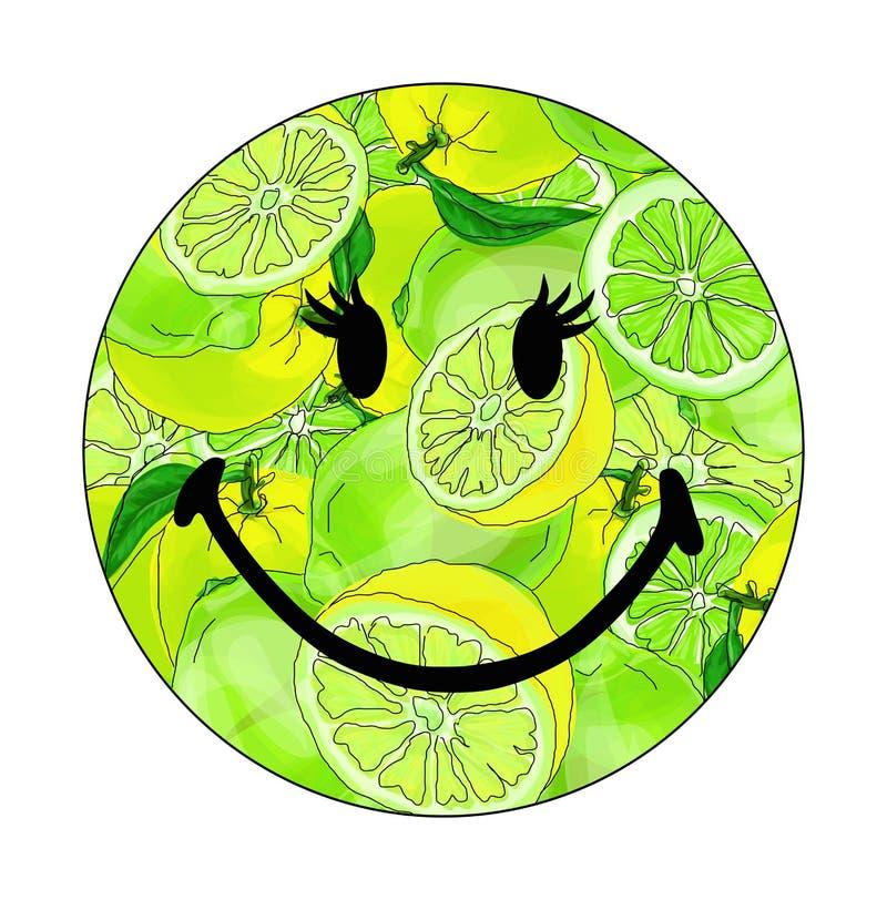 Vectorillustratie van een smiley met kalk stock illustratie