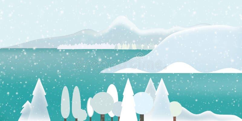 Vectorillustratie van een sneeuwlandschap van de de winterberg met FO vector illustratie