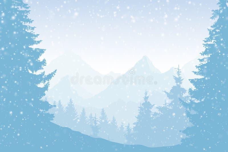 Vectorillustratie van een sneeuwlandschap van de de winterberg met FO stock illustratie