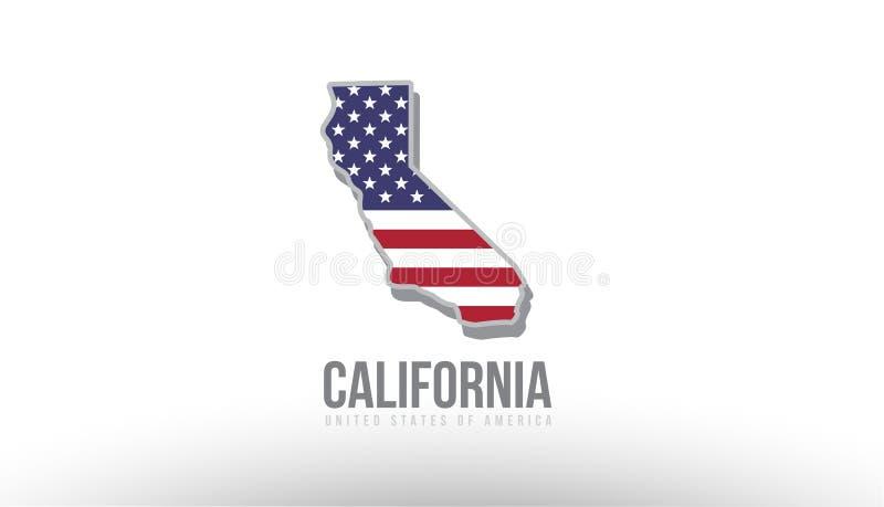 Vectorillustratie van een staat van de provincie met de vlag van de V.S. Verenigde Staten stock illustratie