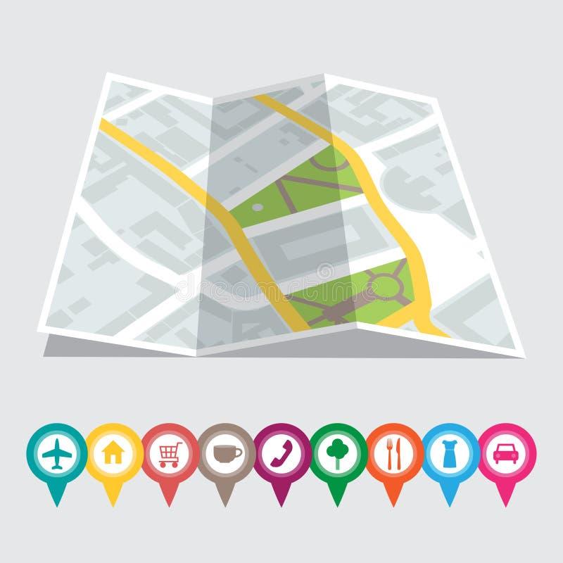 Vectorillustratie van een stadskaart met plaatsen royalty-vrije illustratie
