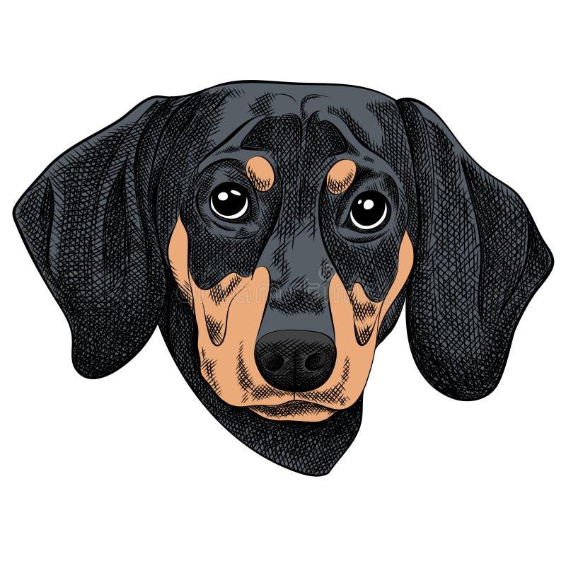Vectorillustratie van een Tekkelhond voor een Kerstkaart Vrolijke Kerstmis in het jaar van de hond royalty-vrije illustratie
