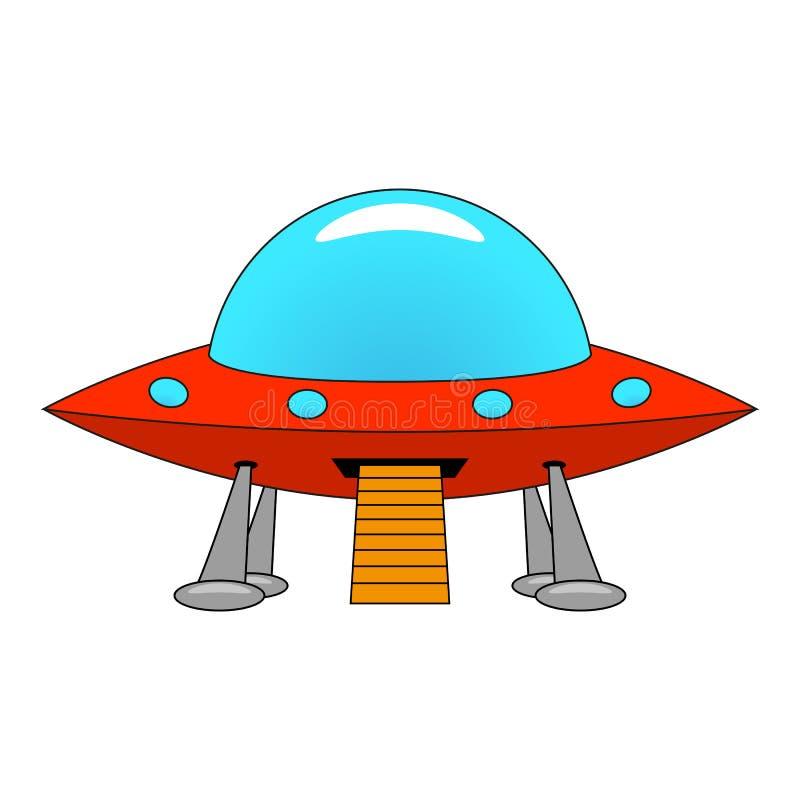 Vectorillustratie van een UFO van het beeldverhaalschip stock illustratie