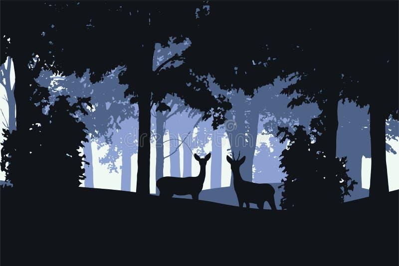 Vectorillustratie van een vergankelijk bos met damhinde en herten royalty-vrije illustratie