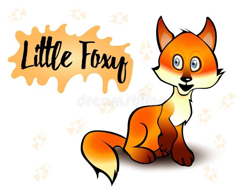 Vectorillustratie van een vos Weinig foxy zitting Witte achtergrond royalty-vrije illustratie
