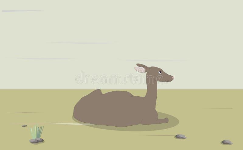 Vectorillustratie van een vrouwelijk hert dat op aard ligt royalty-vrije illustratie