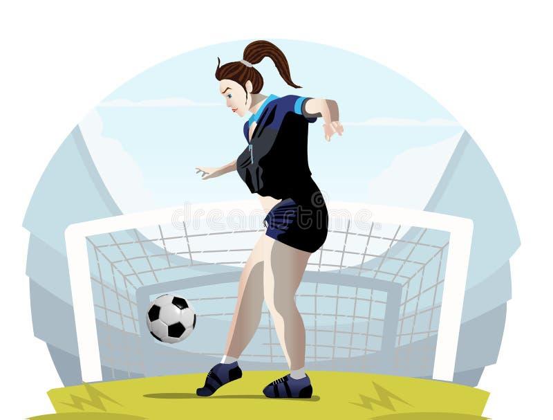 Vectorillustratie van een vrouwenvoetbalster royalty-vrije illustratie