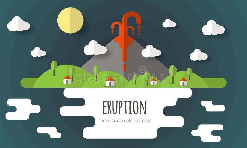 Vectorillustratie van een vulkanische uitbarsting Mooi berglandschap, hemel, wolken, sterren, dorpshuizen Materieel vlak ontwerp stock illustratie