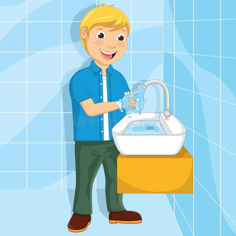 Vectorillustratie van een weinig Jongen die Zijn Handen wassen vector illustratie