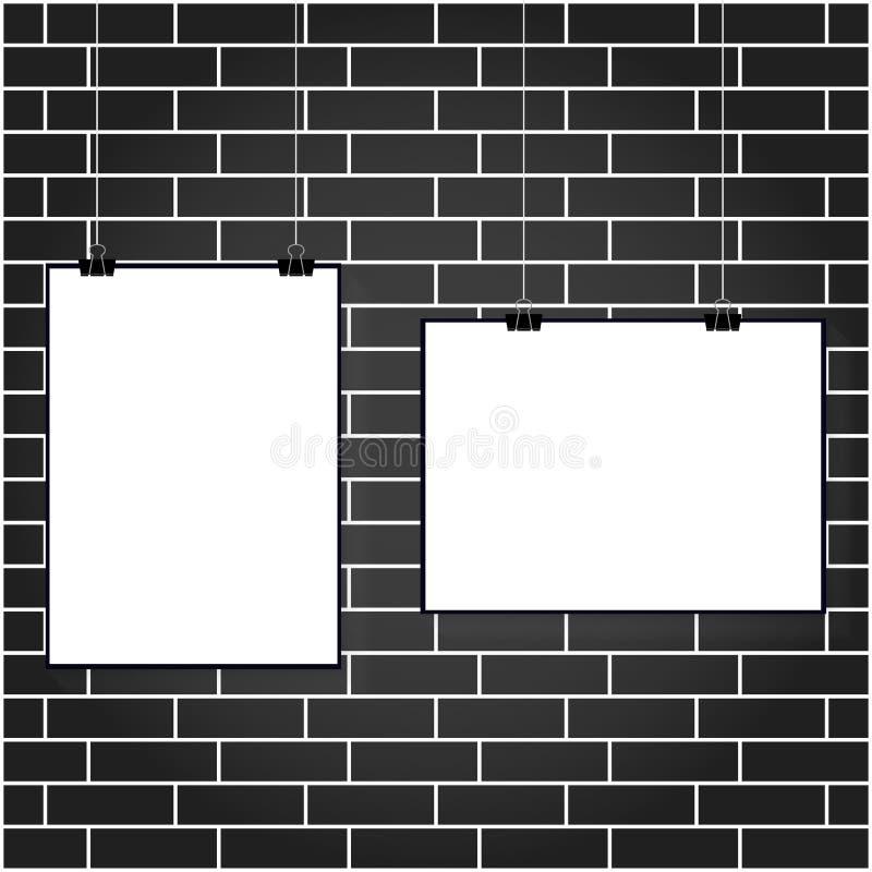 Vectorillustratie van een witte affiche die op een administratieve klem op een witte bakstenen muurachtergrond hangen stock illustratie