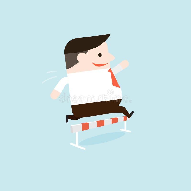 Vectorillustratie van een zakenman die en het springen hindernissen lopen royalty-vrije stock foto