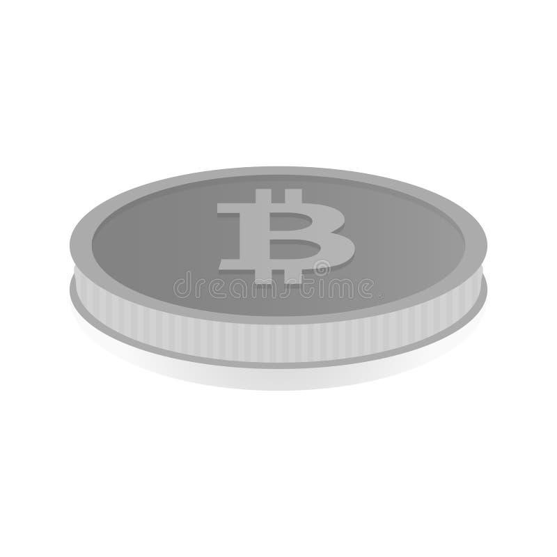 Vectorillustratie van een zilveren muntstuk met symboolcryptocurrency Bitcoin royalty-vrije illustratie