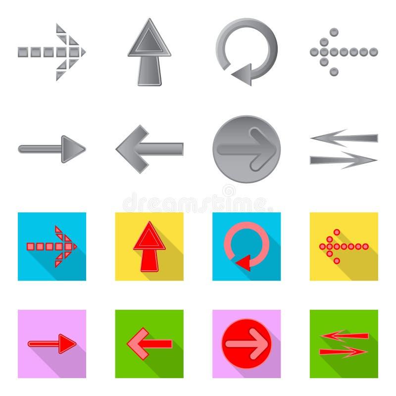 Vectorillustratie van element en pijlembleem Inzameling van element en richtings vectorpictogram voor voorraad royalty-vrije illustratie