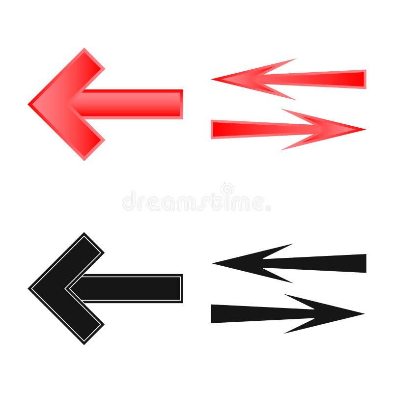 Vectorillustratie van element en pijlpictogram Reeks van element en richtingsvoorraadsymbool voor Web vector illustratie
