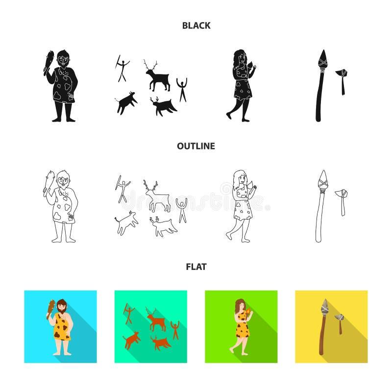Vectorillustratie van evolutie en neolithisch embleem Inzameling van evolutie en ongerept voorraadsymbool voor Web stock illustratie