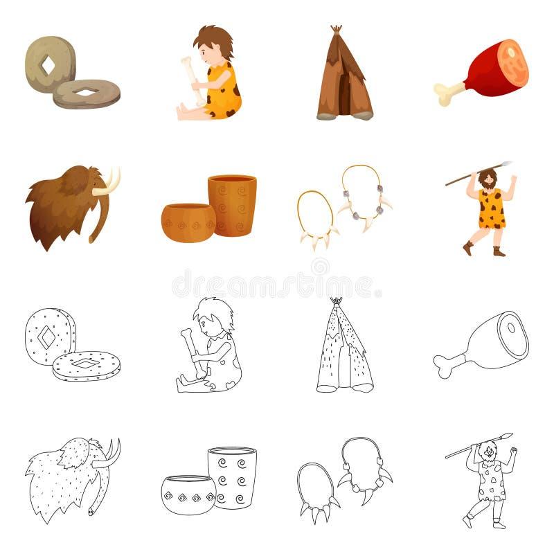 Vectorillustratie van evolutie en neolithisch pictogram Reeks van evolutie en ongerept voorraadsymbool voor Web royalty-vrije illustratie
