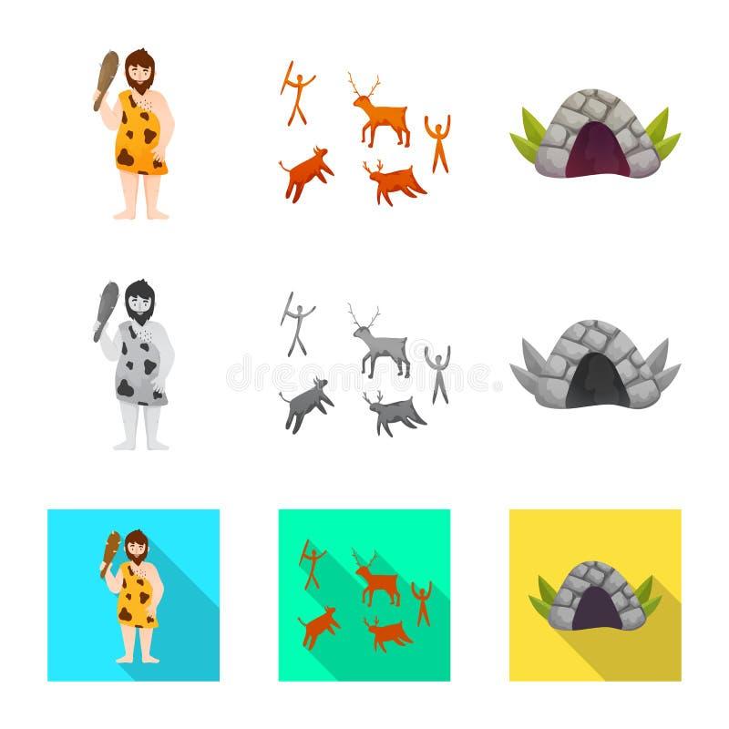 Vectorillustratie van evolutie en neolithisch symbool Reeks van evolutie en ongerepte voorraad vectorillustratie vector illustratie