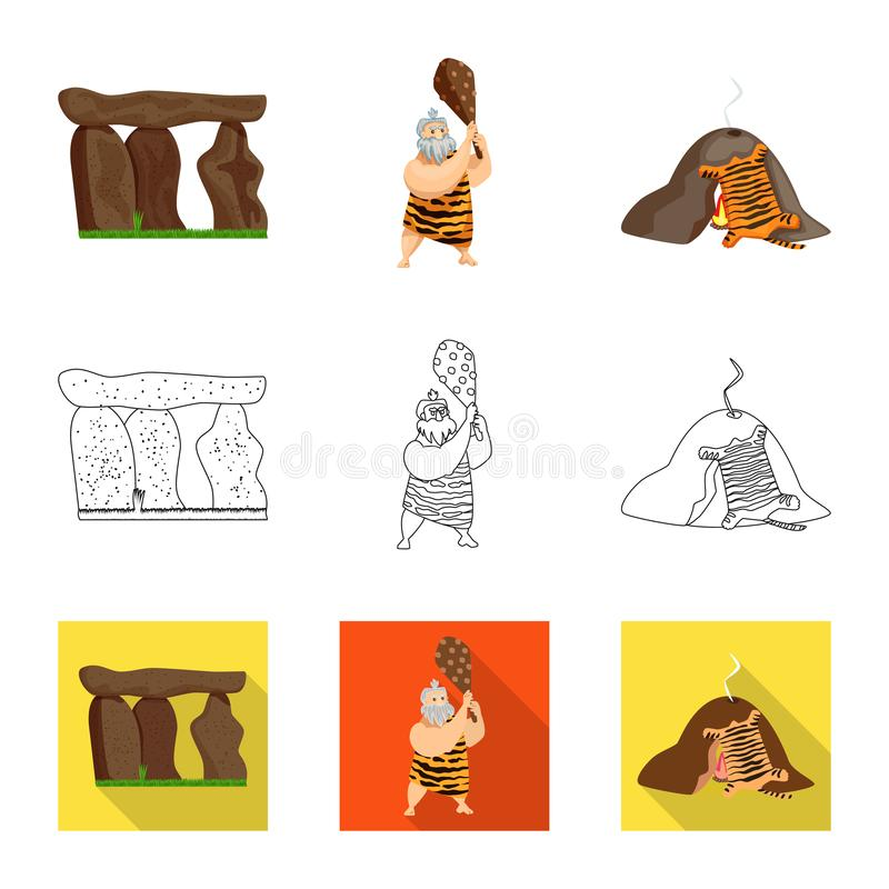 Vectorillustratie van evolutie en voorgeschiedenisembleem Inzameling van evolutie en ontwikkelings vectorpictogram voor voorraad royalty-vrije illustratie