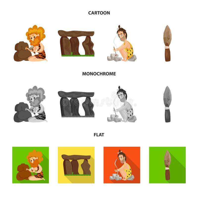 Vectorillustratie van evolutie en voorgeschiedenispictogram Inzameling van evolutie en ontwikkelings vectorpictogram voor voorraa vector illustratie