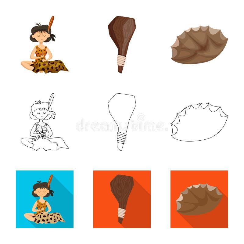 Vectorillustratie van evolutie en voorgeschiedenissymbool Inzameling van evolutie en ontwikkelings vectorpictogram voor voorraad stock illustratie