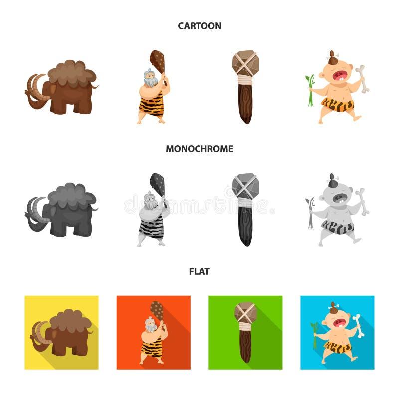 Vectorillustratie van evolutie en voorgeschiedenissymbool Inzameling van evolutie en ontwikkelings vectorpictogram voor voorraad royalty-vrije illustratie