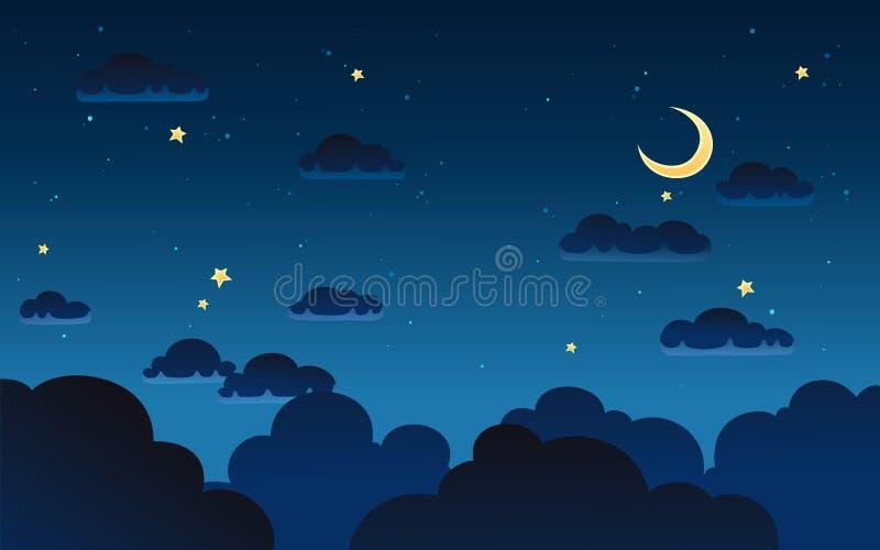 Vectorillustratie van fantasie donkere nacht vector illustratie