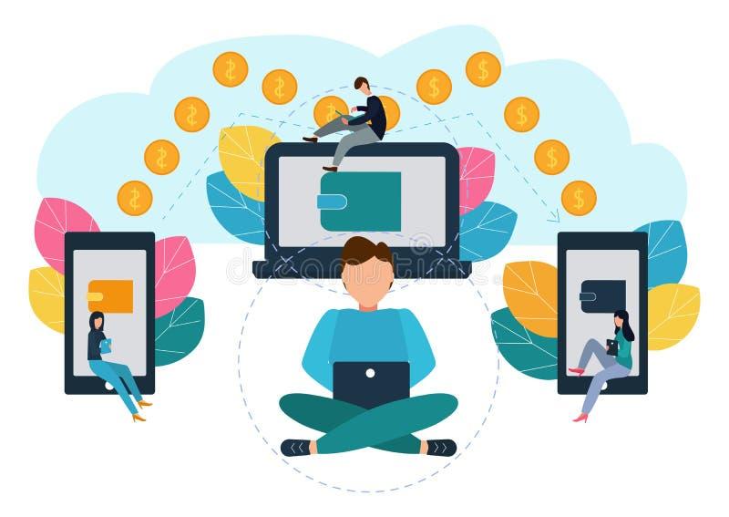 Vectorillustratie van financiële transacties, geldoverdracht Elektronische Portefeuilles Illustratie in vlakke stijl vector illustratie