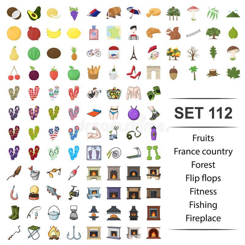 Vectorillustratie van fruit, Frankrijk, land, bos, wipschakelaarsgeschiktheid het pictogramreeks van de visserijopen haard royalty-vrije illustratie
