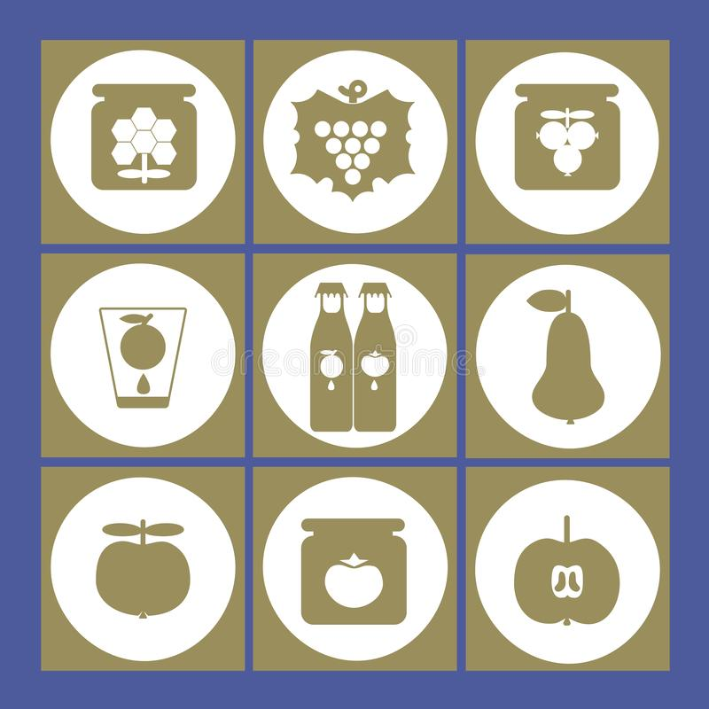 Vectorillustratie van fruit, honing, ingeblikte voedsel en jampictogrammen royalty-vrije illustratie