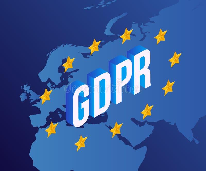 Vectorillustratie van GDPR-tekstontwerp met isometrische brieven op kaart van Europa stock illustratie