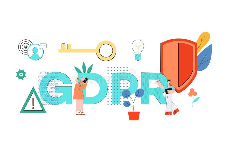 Vectorillustratie van GDPR-woordontwerp met diverse mensen met mobiele gadgets vector illustratie