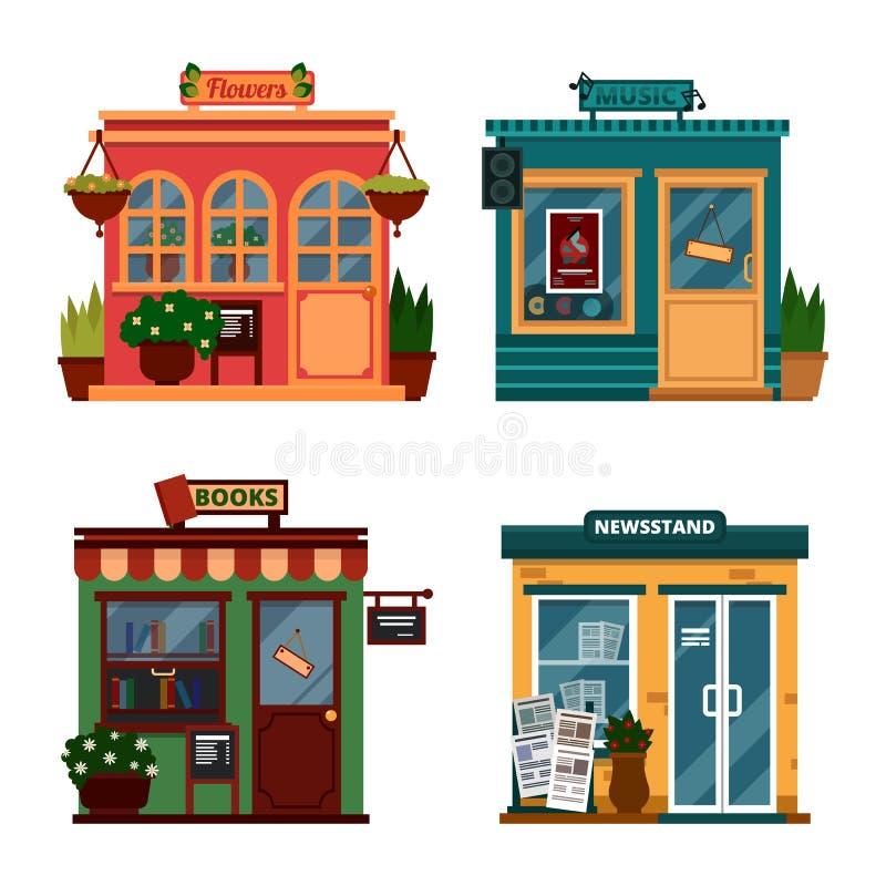 Vectorillustratie van gebouwen die winkels voor het kopen van decoratie en vrije tijdstoebehoren zijn Reeks aardige vlakke winkel vector illustratie