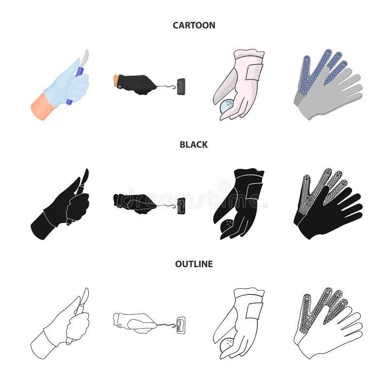 Vectorillustratie van gebreid en bewaarderspictogram Reeks van het gebreide en symbool van de handvoorraad voor Web vector illustratie