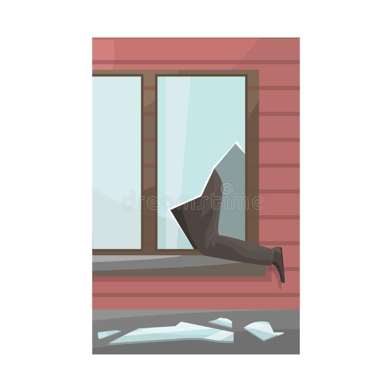 Vectorillustratie van gebroken en vensterpictogram Inzameling van het gebroken en symbool van de veiligheidsvoorraad voor Web royalty-vrije illustratie