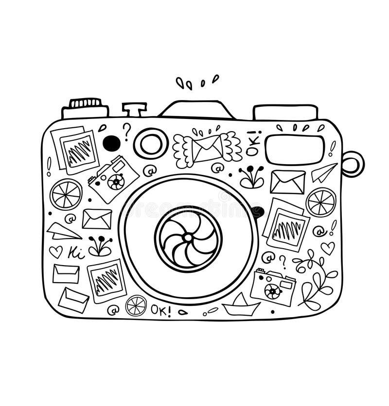 Vectorillustratie van gedetailleerd geïsoleerd beeld van camera vector illustratie