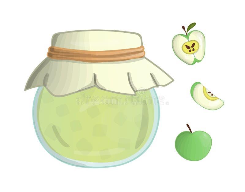 Vectorillustratie van gekleurde kruik met appeljam royalty-vrije illustratie
