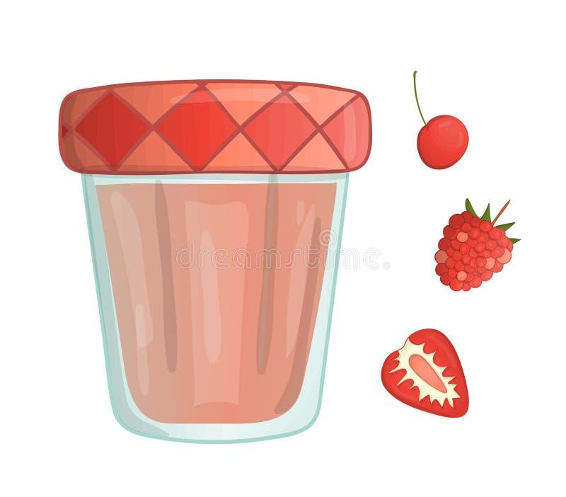 Vectorillustratie van gekleurde kruik met bessenjam stock illustratie