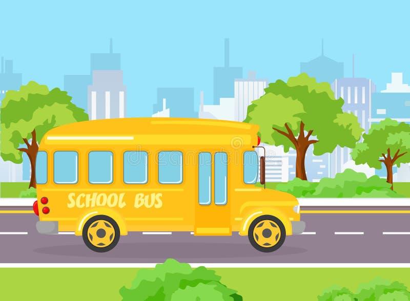 Vectorillustratie van gele grappige schoolbus voor jonge geitjes op de moderne grote stadsachtergrond met gebouwen en bomen royalty-vrije illustratie