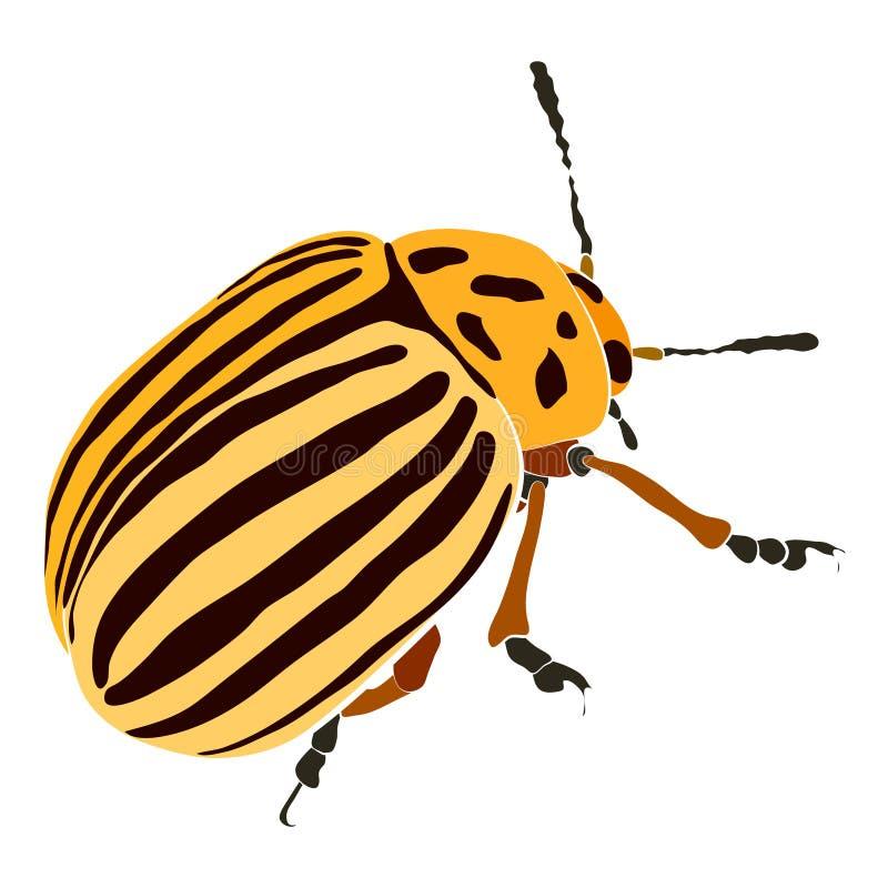 Vectorillustratie van gele kever met zwarte strepen en vlekken Wrecker op aardappelsblad royalty-vrije illustratie