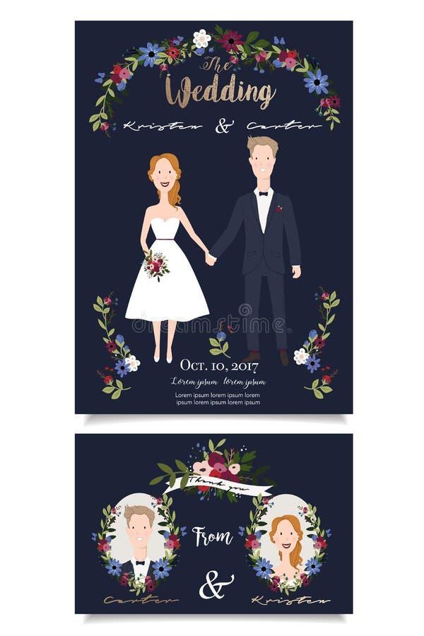 Vectorillustratie van gelukkig bruids paar op donkerblauwe achtergrond stock illustratie