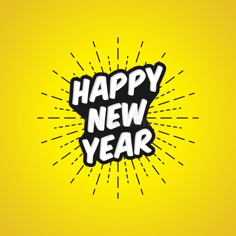 Vectorillustratie van Gelukkig Nieuwjaar met Heldere Gele Achtergrond stock illustratie