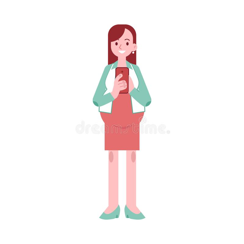 Vectorillustratie van gelukkige zwangere vrouw status met mobiele telefoon vector illustratie