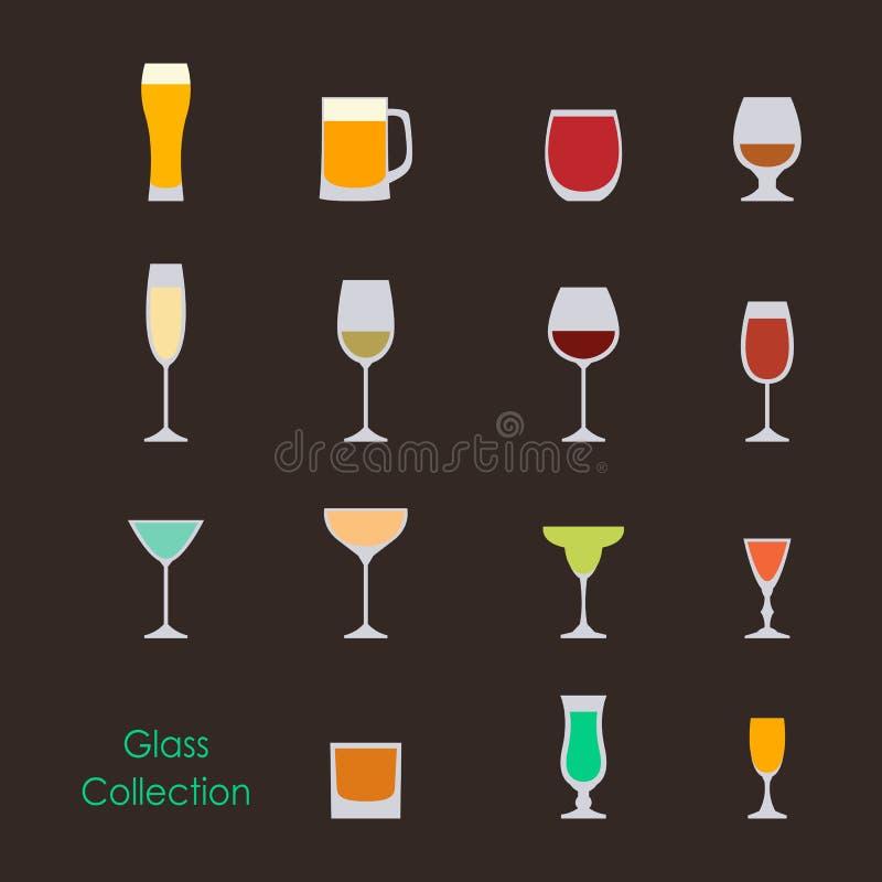 Vectorillustratie van geplaatste de glazen van de kleurenwijn stock illustratie